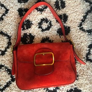 Red Orange suede T handbag